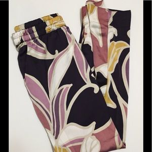 Tropical Print Satin Feel PJ Lounge Pants
